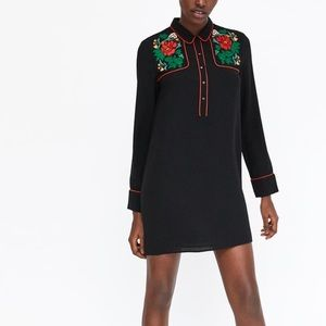 Zara Shirt Dress with Floral Embroidery